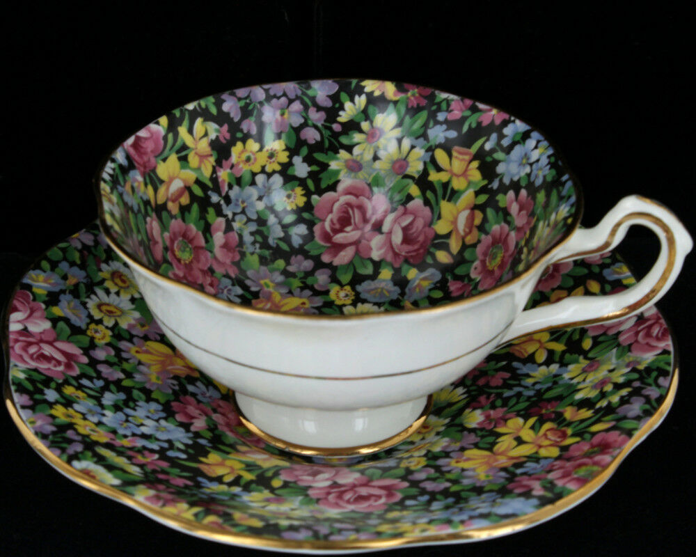 Primary image for Vintage Rosina-Queens Footed Cup & Saucer Set Floral Fantasy Black Chintz Bone C
