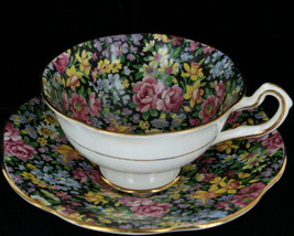 Vintage Rosina-Queens Footed Cup & Saucer Set Floral Fantasy Black Chint... - $62.99