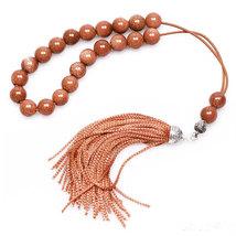 Worry Beads - Greek Komboloi -  Brown Goldstone & Sterling Silver - Roun... - $42.00