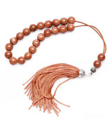 Worry Beads - Greek Komboloi -  Brown Goldstone & Sterling Silver - Roun... - $42.00