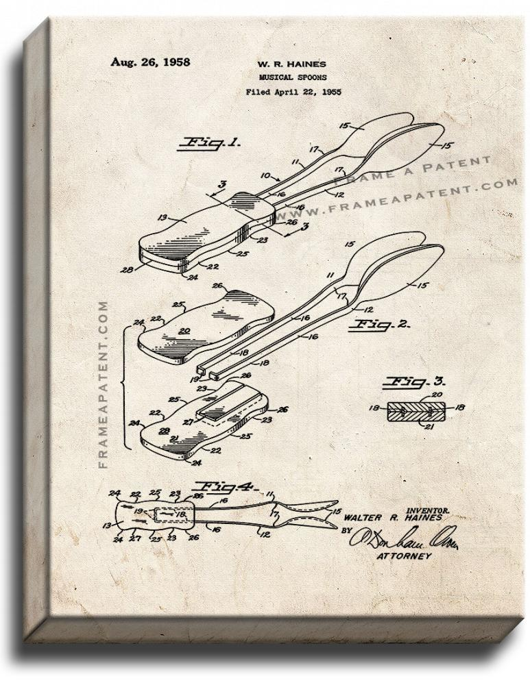 Primary image for Musical Spoons Patent Print Old Look on Canvas