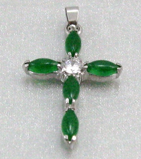 UNIQUE CHINESE RICH GREEN JADE CROSS silver plated SETTING NECKLACE PENDANT