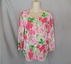Talbots sweater cardigan Large red  pink flowers scoop neck 3/4 sleeves - $13.67