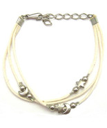 """ANKLET MOON STARS CREAM CHARMS FRIENDSHIP STRAP ACRYLIC ADJUSTABLE TO 9"""" - $9.45"""