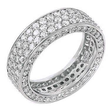 5.3c Iced Out 3 Lines Russian CZ Eternity Band Ring s 7