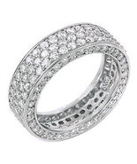 5.3c Iced Out 3 Lines Russian CZ Eternity Band Ring s 7 - $81.00