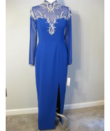 Royal Blue And Silver Beaded Sequin Gown Size 8 - $92.00