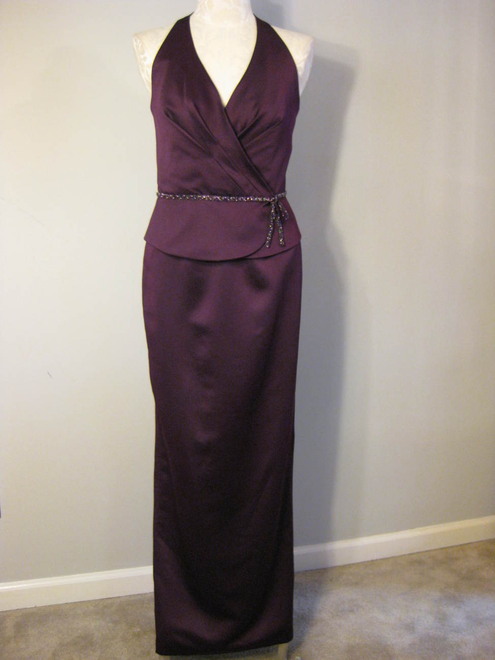 Formal Satin And Beaded Gown By Jordan Size 6 NWT
