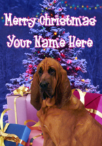 Bloodhound Dog Merry Christmas Personalised Greeting Card Xmas codeXM181 - $4.42