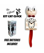 """CANDY CANE KIT CAT CLOCK 15.5"""" Red White Kit-Cat Klock Free Battery Made... - £48.86 GBP"""