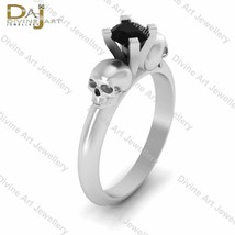 Solitaire Skull Gothic Wedding Ring Womens Gothic Skull Engagement Ring ... - £65.71 GBP