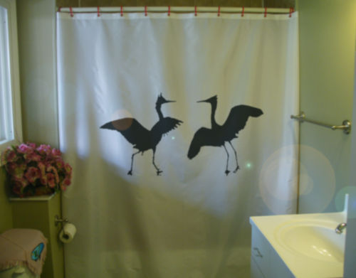 Primary image for Shower Curtain egrets in mating dance egret bird water