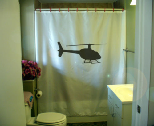 Primary image for Shower Curtain helicopter silhouette fly copter blade