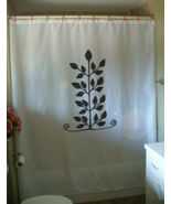 Printed Shower Curtain leaf pattern branch twig leaves swirl nature art  - $90.00