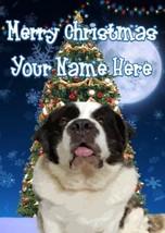 Saint Bernard Dog Merry Christmas Personalised Greeting Card Xmas codeTM224 - $3.89