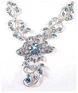 Filigreed Necklace, Earring Set Blue Swarovski Crystals - $24.99