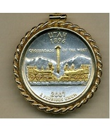 State of Utah ,2-Toned, Gold on Silver, U.S. Quarter Pendant Necklace - $132.00