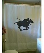 Shower Curtain polo player horse mallet gallop game - $64.99