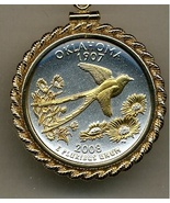 State of Oklahoma,  2-Toned, Gold on Silver,U.S. Quarter Pendant Necklace - $132.00