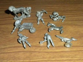 8 Vintage Tiny Miniature Various Pewter Figurines - $6.80