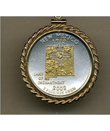 State of New Mexico, 2-Toned, Gold on Silver, U.S.Quarter Pendant Necklace - $132.00
