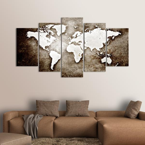 Framed 5 Piece Textured Grunge World Map Picture Poster Canvas Wall ...