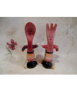 Anthropomorphic Spoon and Fork Salt and Pepper Shakers Set Vintage Colle... - $19.95