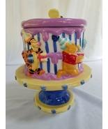 Winnie The Pooh Piglet Eyore Ceramic Happy Birthday Cake Dish Cookie Jar - $44.40