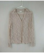 New York & Company Woman's Lt Pink Lace Button Up Long Sleeve Blouse Siz... - $14.95