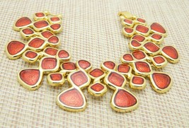 Red Enamel Abstract Gold Tone 1980's Runway Statement Vintage Bracelet - $13.86