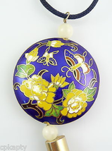 HUGE Vintage 1960s Chinese Cloisonne Floral Design Pendant on Silk Cord ... - $96.99