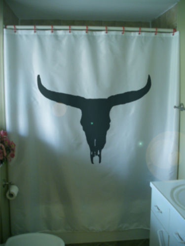 Primary image for Shower Curtain bison skull buffalo desert America death