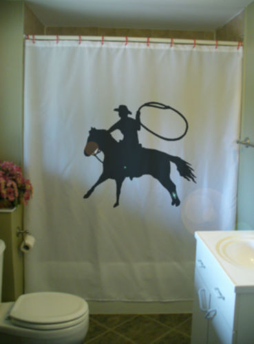 Primary image for Shower Curtain cowboy lasso horse rope ride wild west