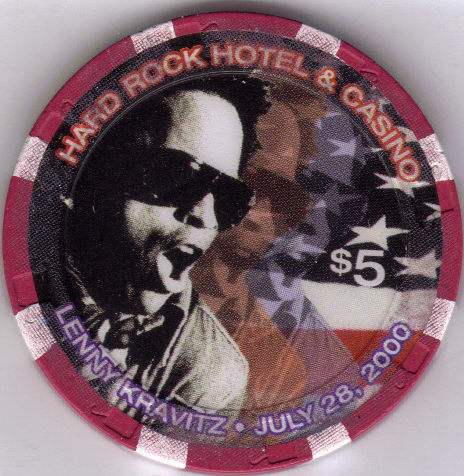 Primary image for $5 HARD ROCK HOTEL LAS VEGAS LENNY KRAVITZ 2000 Casino chip