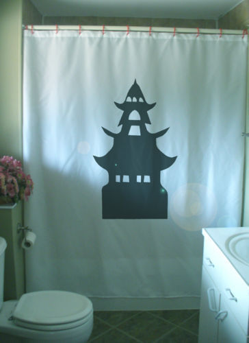 Primary image for Shower Curtain pagoda Tao worship house Asia tower tier