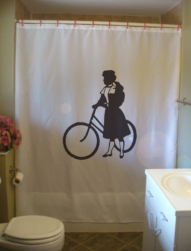 Primary image for Printed Shower Curtain antique girl bike wheel old fashioned Edwardian bicycle