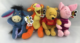 Disney Plush Set of 4 Beanie Winnie the Pooh Tigger Eeyore Piglet Mousek... - $37.04