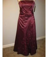 Formal Burgundy Satin Caviar Design Gown Size M... - $68.00