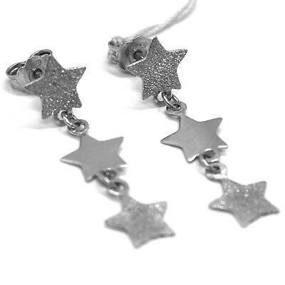 Boucles D'Oreilles Pendantes or Blanc 750 18K, Étoiles Brillant et Satiné,