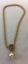 Vintage Simulated Pearl Necklace Gold Tone with Round Beads. - $6.50