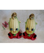 Anthropomorphic Corn Cob Salt and Pepper Shakers Set Vintage Collector - $24.95