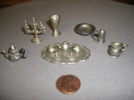 16 piece No Lead Pewter Miniature Tea Set/Place Setting  - $14.99