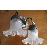 Vintage LD Kichler Frosted Electric Scalloped 2 Bulb Brass Light Fixture... - $27.95