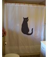 Shower Curtain black cat tail bright eyes feline pet - $59.99