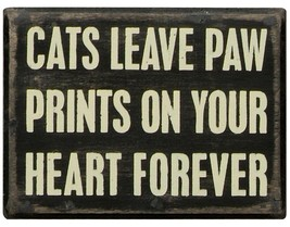 Cats Leave Paw Prints on your Heart Forever Box Sign Primitives by Kathy... - $10.95