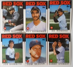 1986 Topps Traded Boston Red Sox Team Set of 6 Baseball Cards - $4.00