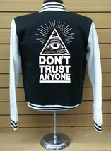 Don't Trust Anyone Letterman Varsity Collage Baseball BLACK/WHITE Fleece Jacket - $29.99