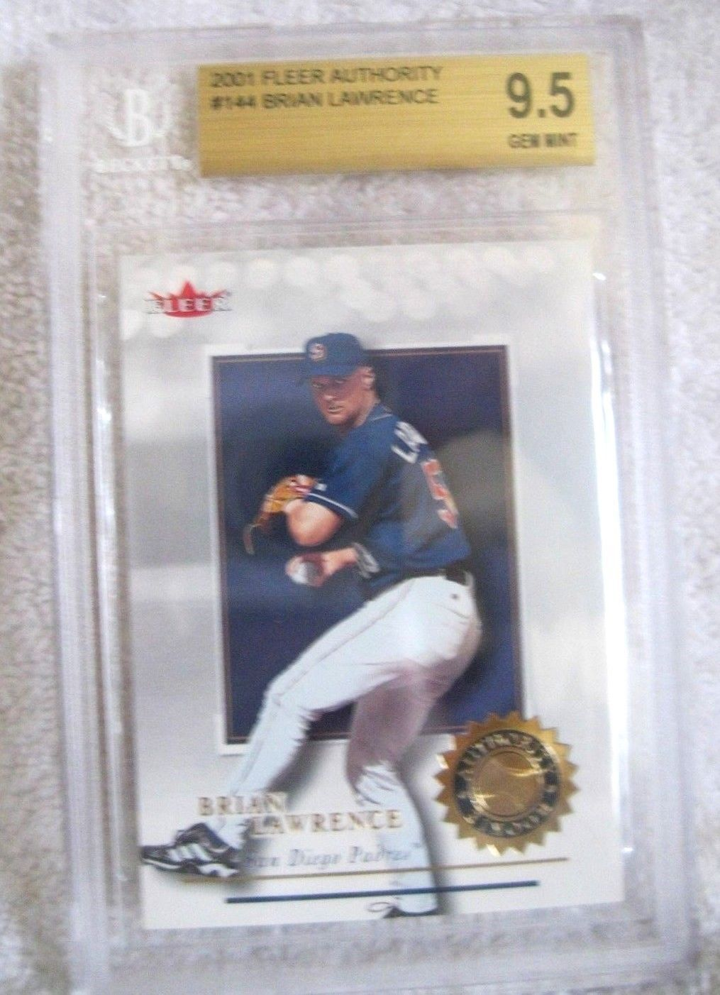 Brian Lawrence RC 2001 Fleer Rookie #598/2001 GRADED GEM MINT BGS 9.5-Padres RC