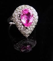 Vintage Sterling Ring / Pink topaz / Cocktail Teardrop / size 8 1/2 / Oc... - $85.00