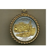 State of Arizona, 2-Toned, Gold on Silver, U.S. Quarter Pendant Necklace - $132.00
